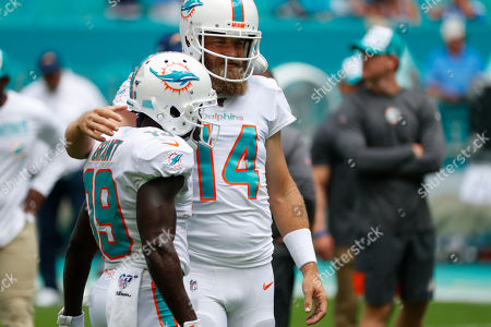 Stock Picture of Miami Dolphins quarterback Ryan Fitzpatrick (14) hugs wide receiver Jakeem Grant