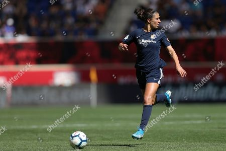 Sky Blue FC midfielder Carli Lloyd (10) moves the ball up the pitch during the second half of an NWSL soccer match against the Orlando Pride, in Harrison, N.J. The match ended in a 1-1 draw