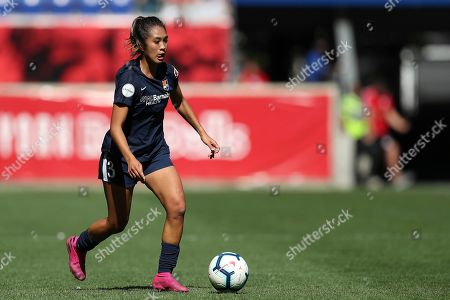 Sky Blue FC defender Caprice Dydasco (3) moves the ball up the pitch during the second half of an NWSL soccer match against the Orlando Pride, in Harrison, N.J. The match ended in a 1-1 draw
