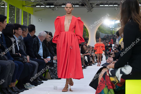 Models present creations by Italian designer Pierpaolo Piccioli for Valentino during the Paris Fashion Week, in Paris, France, 29 September 2019. The presentation of the Spring/Summer 2020 collections runs from 23 September to 01 October 2019.