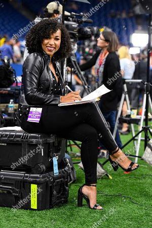 MJ Acosta of the NFL Network works before before an NFL football game between the Oakland Raiders and the Indianapolis Colts in Indianapolis