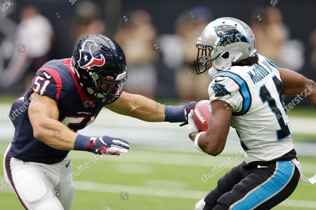 Ray-Ray McCloud, Dylan Cole. Carolina Panthers wide receiver Ray-Ray McCloud (14) is pressured by Houston Texans linebacker Dylan Cole (51) during the first half of an NFL football game, in Houston