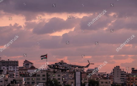 The helicopter of late Palestinian leader Yasser Arafat sits on top of a structure in Gaza City, 29 September 2019. The helicopter was placed there in May 2015 and serves for military excercises since.