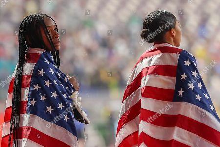 Courtney Okolo (USA), Allyson Felix (USA), 4 x 400 Metres Mixed Final, during the 2019 IAAF World Athletics Championships at Khalifa International Stadium, Doha