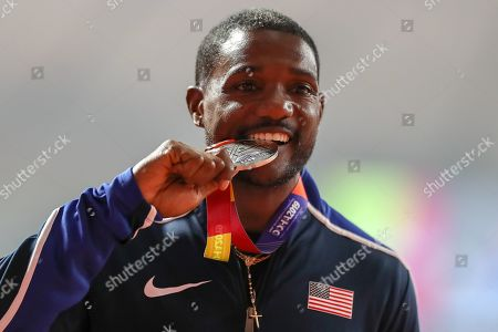 CORRECTION Justin Gatlin (USA), Winner of the Silver Medal in the Men's 100 Metres Final on Day 2 of the 2019 IAAF World Athletics Championships at Khalifa International Stadium, Doha