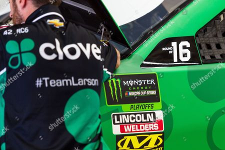 Monster Energy NASCAR Cup Series driver Kyle Larson (42) sports his playoff stickers for the Bank of America Roval 400 at Charlotte Motor Speedway in Charlotte, NC