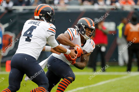 Chicago Bears quarterback Chase Daniel (4) hands off to running back David Montgomery during the half of an NFL football game against the Minnesota Vikings, in Chicago