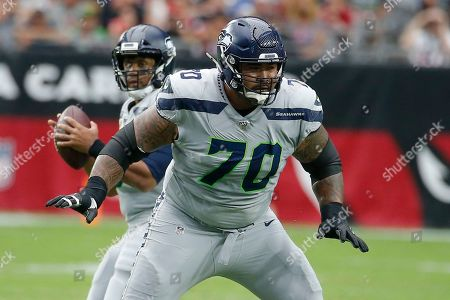 Seattle Seahawks offensive guard Mike Iupati (70) during an NFL football game against the Arizona Cardinals, in Glendale, Ariz