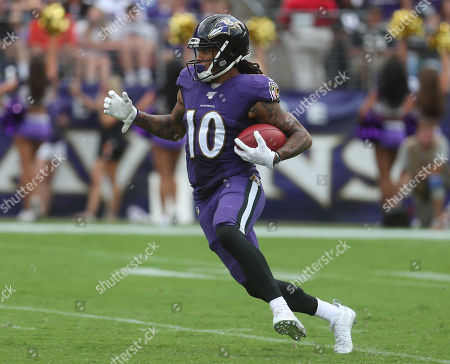Baltimore Ravens WR Chris Moore (10) in action during a game against the Cleveland Browns at M&T Bank Stadium in Baltimore, Maryland on Photo/ Mike Buscher / Cal Sport Media