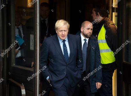 Boris Johnson leaves the Midland Hotel on his way to the Marr Show