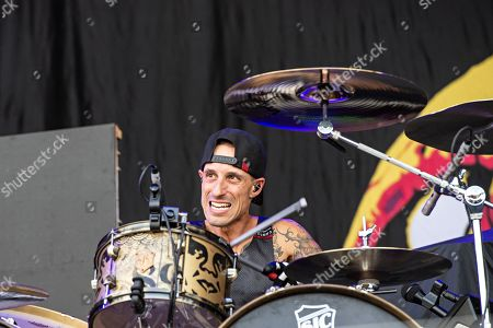 Stock Picture of Frank Zummo of Sum 41 performs during Louder Than Life at Highland Festival Grounds at KY Expo Center, in Louisville, Ky