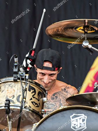 Frank Zummo of Sum 41 performs during Louder Than Life at Highland Festival Grounds at Kentucky Expo Center, in Louisville, Ky