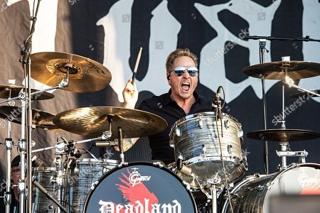 Stock Picture of Matt Sorum, of Deadland Ritual, performs during Louder Than Life at Highland Festival Grounds at KY Expo Center, in Louisville, Ky