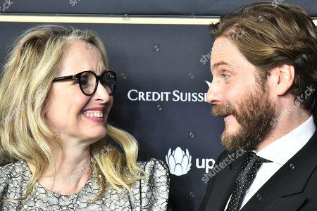 Julie Delpy (L) and German actor Daniel Bruehl (R) attend the 15th Zurich Film Festival (ZFF), in Zurich, Switzerland, 29 September 2019. The festival runs from 26 September to 06 October 2019.