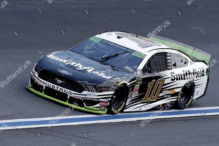 Aric Almirola drives through Turn 4 during the NASCAR Cup Series auto race at Charlotte Motor Speedway in Concord, N.C