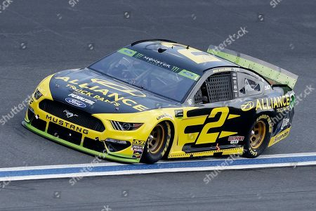 Stock Photo of Brad Keselowski drives through Turn 4 during the NASCAR Cup Series auto race at Charlotte Motor Speedway in Concord, N.C