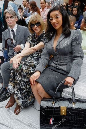 Stock Picture of Andrew Bolton, Anna Wintour and Cardi B in the front row