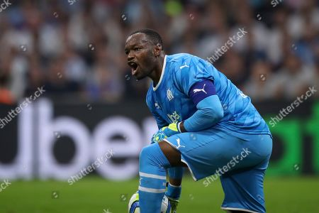 ONE. Marseille's goalkeeper Steve Mandanda reacts during the French League One soccer match between Marseille and Rennes at the Velodrome stadium in Marseille, southern France