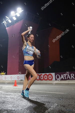 Stock Picture of Inna Kashyna of Ukraine competes during the women's 20 kilometer race walk at the World Athletics Championships in Doha, Qatar