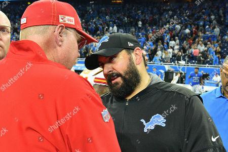 DETROIT, MI - : Detroit Lions head coach Matt Patricia and Kansas City Chiefs head coach Andy Reid shake hands following the NFL game between Kansas City Chiefs and Detroit Lions on at Ford Field in Detroit, MI
