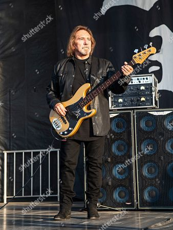 Geezer Butler, of Deadland Ritual, performs during Louder Than Life at Highland Festival Grounds at KY Expo Center, in Louisville, Ky