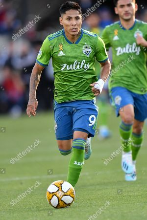 Stock Picture of Seattle Sounders forward Raul Ruidiaz (9) in action during the MLS match between the Seattle Sounders and the San Jose Earthquakes at Avaya Stadium in San Jose, California