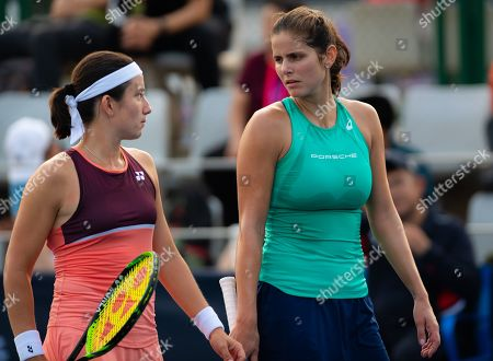Stock Picture of Julia Goerges of Germany & Anastasija Sevastova of Latvia playing doubles at the 2019 China Open Premier Mandatory tennis tournament