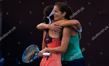 Julia Goerges of Germany & Anastasija Sevastova of Latvia playing doubles at the 2019 China Open Premier Mandatory tennis tournament