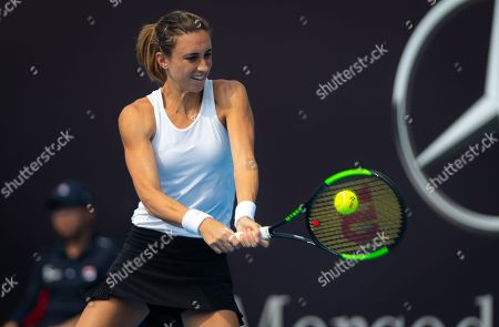 Petra Martic of Croatia in action during her first-round match at the 2019 China Open Premier Mandatory tennis tournament