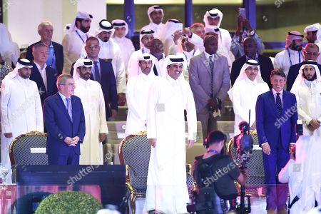 Thomas Bach, King of Qatar Shek Tamim Bin Al Thani and Lord Sebastian Coe in the Opening Ceremony