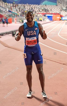 Justin Gatlin of the USA celebrates his second place in the men's 100m final