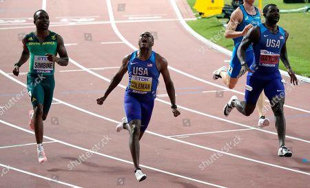 Christian Coleman (USA) winner 100m bfor Justin Gatlin (USA) (R) during IAAF World Athletics Championships 2019 in Khaliff Internartional Stadium