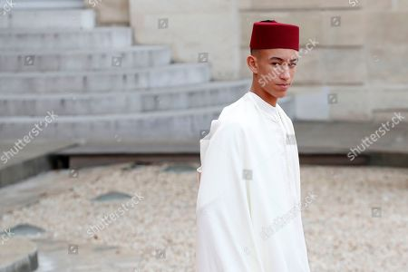 Moulay Hassan, Crown Prince of Morocco, leaves Elysee palace in Paris, after paying tribute to former French President Jacques Chirac who died last week at the age of 86