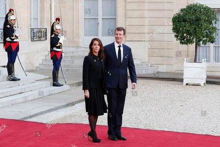 Denmark Crown Princess Mary and Crown Prince Frederik leave Elysee palace in Paris, after paying tribute to former French President Jacques Chirac who died last week at the age of 86
