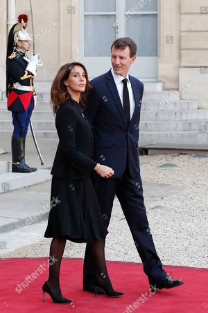 Stock Photo of Denmark's Crown Princess Mary and Crown Prince Frederik leave Elysee palace in Paris, after paying tribute to former French President Jacques Chirac who died last week at the age of 86