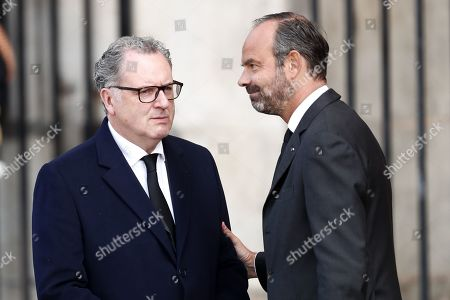 French National Assembly president Richard Ferrand (L) is welcomed by French prime Minister Edouard Philippe (R), as he attends a memorial service for French former President Jacques Chirac, at the Church of Saint-Sulpice in Paris, France, 30 September 2019. Jacques Chirac died on 26 September in Paris, aged 86. The 30th September 2019 has been declared a day of national mourning in France.