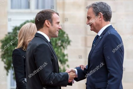 French President Emmanuel Macron (L) welcomes Former Prime Minister of Spain Jose Luis Rodriguez Zapatero (R) ahead of a lunch for the visiting leaders and heads of state, following a memorial for French former President Jacques Chirac, at the Elysee Palace in Paris, France, 30 September 2019. Jacques Chirac died on 26 September in Paris, aged 86. The 30th September 2019 has been declared a day of national mourning in France.