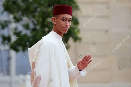 Stock Picture of Moulay Hassan, Crown Prince of Morocco, leaves a lunch for the visiting leaders and heads of state, following a memorial for former French President Jacques Chirac, at the Elysee Palace in Paris, France, 30 September 2019. Jacques Chirac died on 26 September in Paris, aged 86. 30 September 2019 has been declared a day of national mourning.