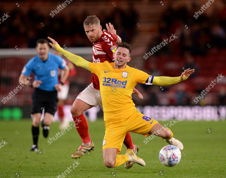 Adam Clayton of Middlesbrough fouls Alan Browne of Preston North End