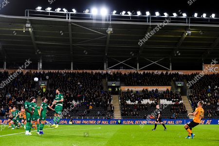 Kamil Grosicki of Hull City can't recreate his free kick heroics from Saturday as his free kick is over the bar