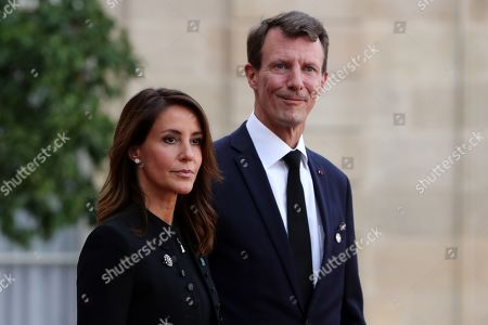 Stock Picture of Princess Marie (L) and Prince Joachim (R) of Denmark leave a lunch for the visiting leaders and heads of state, following a memorial for French former President Jacques Chirac, at the Elysee Palace in Paris, France, 30 September 2019. Jacques Chirac died on 26 September in Paris, aged 86. 30 September 2019 has been declared a day of national mourning.