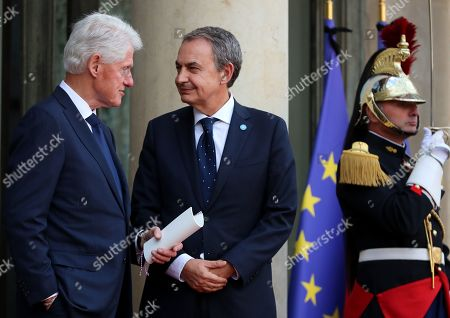 Former prime minister of Spain Jose Luis Rodriguez Zapatero (R) and US former president Bill Clinton (L) leave a lunch for the visiting leaders and heads of state, following a memorial for French former President Jacques Chirac, at the Elysee Palace in Paris, France, 30 September 2019. Jacques Chirac died on 26 September in Paris, aged 86. 30 September 2019 has been declared a day of national mourning.