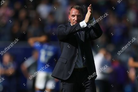 Manager of Leicester City, Brendan Rogers applauds the home supporters after beating Tottenham Hotspur