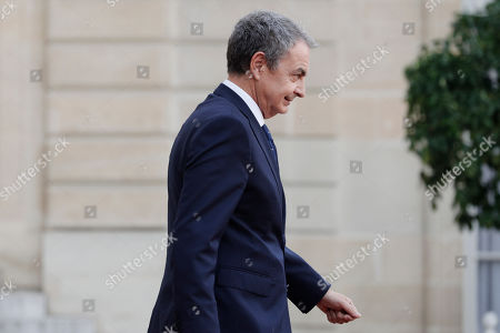 Stock Image of Former Spanish Prime Minister Jose Luis Zapatero leaves the Elysee Palace after a lunch with heads of states and officials, in Paris. France bid a final adieu to former French President Jacques Chirac on Monday as he received military honors on a national day of mourning that culminated with a memorial service attended by dozens of past and current world leaders
