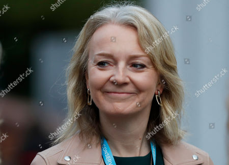 Liz Truss, Secretary of State for International Trade at the Conservative Party Conference in Manchester, England, . Prime Minister Boris Johnson has vowed that Britain will leave the European Union on the scheduled date of Oct. 31, with or without a divorce deal governing future relations with the bloc
