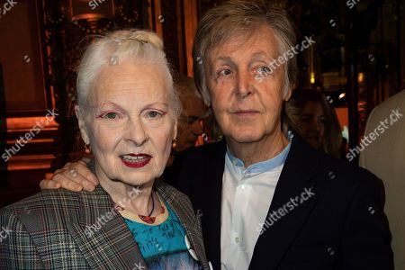 Stock Photo of Vivienne Westwood, Paul McCartney. Designer Vivienne Westwood, left, and musician Paul McCartney attend the Stella McCartney Ready To Wear Spring-Summer 2020 collection, unveiled during the fashion week, in Paris