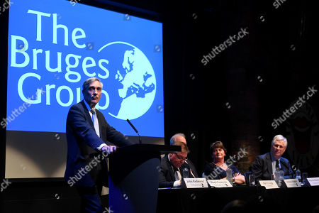 Stock Image of John Redwood speech at a meeting of The Bruges Group during the Tory Party Conference.