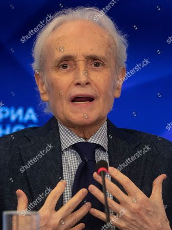 Stock Image of Spanish tenor Jose Carreras holds a press conference at the Ria Novosty news agency in Moscow, Russia, 30 September 2019. Carreras will perform at the State Kremlin Palace, regarded the main stage of the country, accompanied by the Moscow City Symphony orchestra Russian Philharmonic on 01 October 2019.