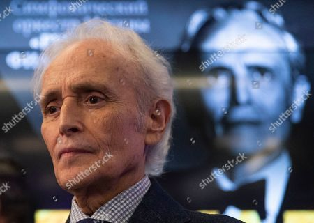 Stock Picture of Spanish tenor Jose Carreras attends a press conference at the Ria Novosty news agency in Moscow, Russia, 30 September 2019. Carreras will perform at the State Kremlin Palace, regarded the main stage of the country, accompanied by the Moscow City Symphony orchestra Russian Philharmonic on 01 October 2019.