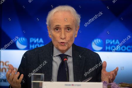 Spanish tenor Jose Carreras holds a press conference at the Ria Novosty news agency in Moscow, Russia, 30 September 2019. Carreras will perform at the State Kremlin Palace, regarded the main stage of the country, accompanied by the Moscow City Symphony orchestra Russian Philharmonic on 01 October 2019.